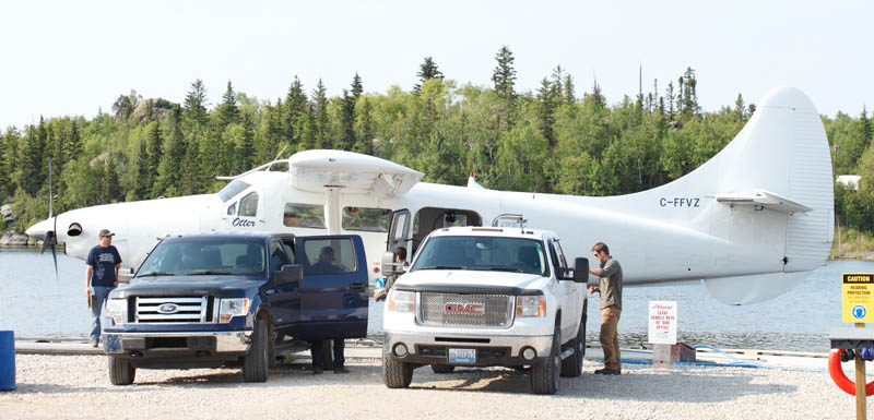 Float plane docked at fishing resort